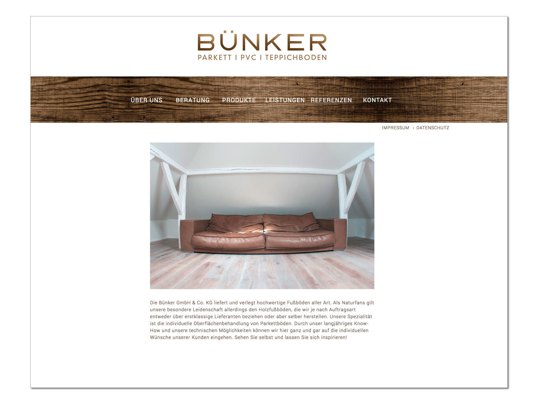 Bünker Parkett, Corporate Design, Website