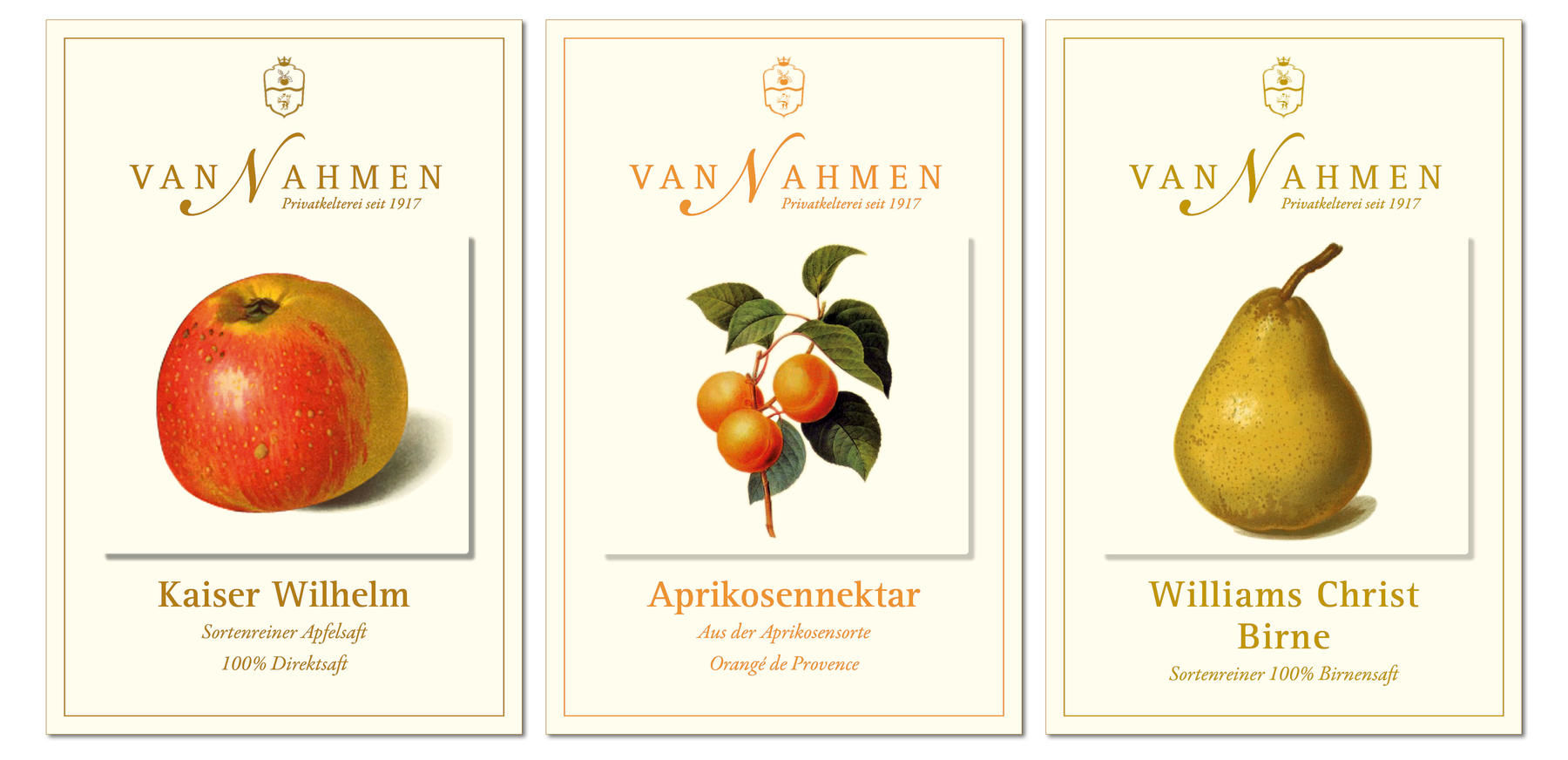 van Nahmen Obstsäfte, Sortenreine Obstsäfte, Produktgestaltung, Packaging, Corporate Design