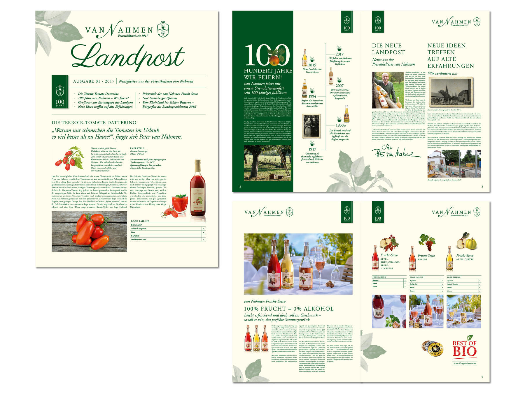 van Nahmen Obstsäfte, Landpost, Corporate Design, Literatur