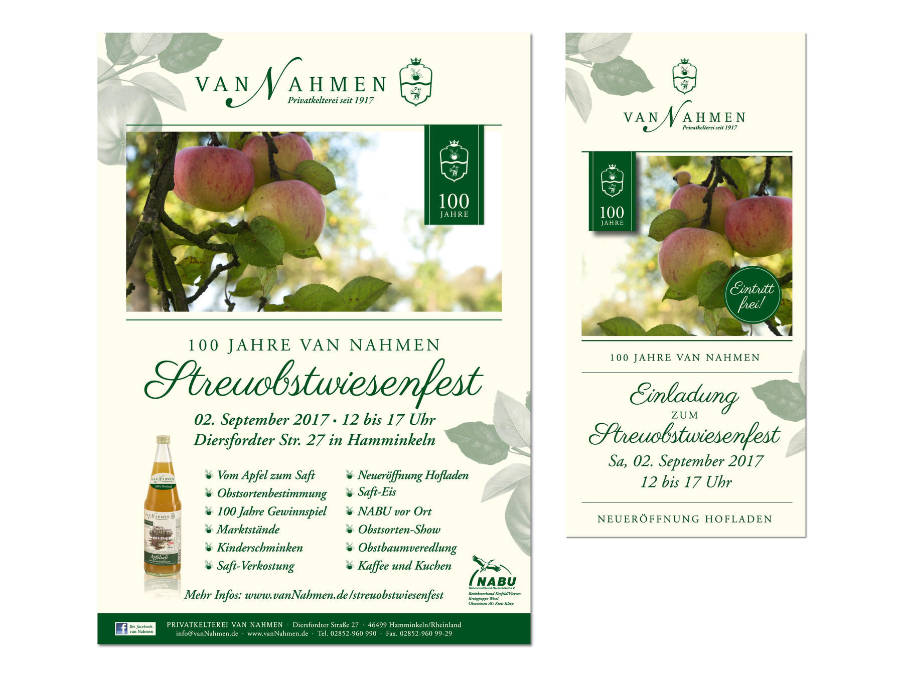 van Nahmen Obstsäfte, Streuobstwiesenfest, Plakat, Flyer, Corporate Design